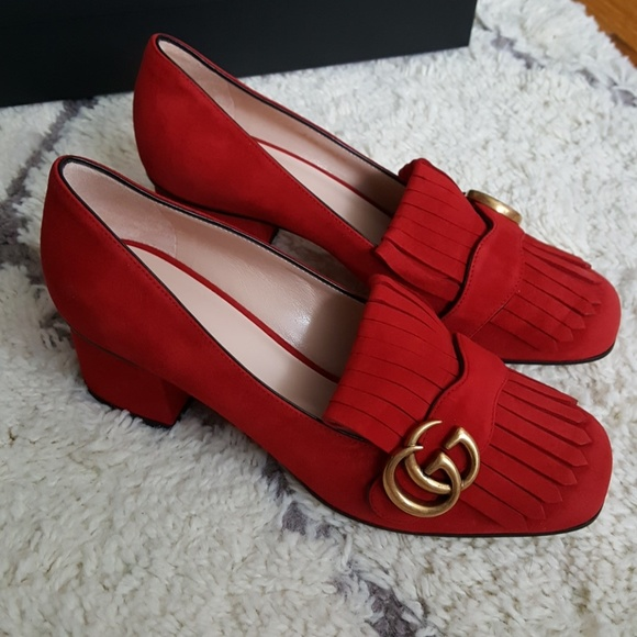 Gucci Shoes | Gucci Marmont Gg Mid Heel
